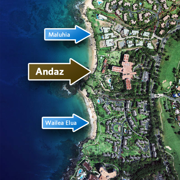 Aerial map showing the location of Andaz Wailea