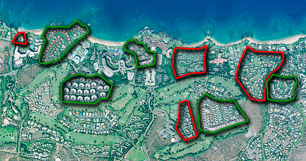 Aerial map showing abundance and scarcity